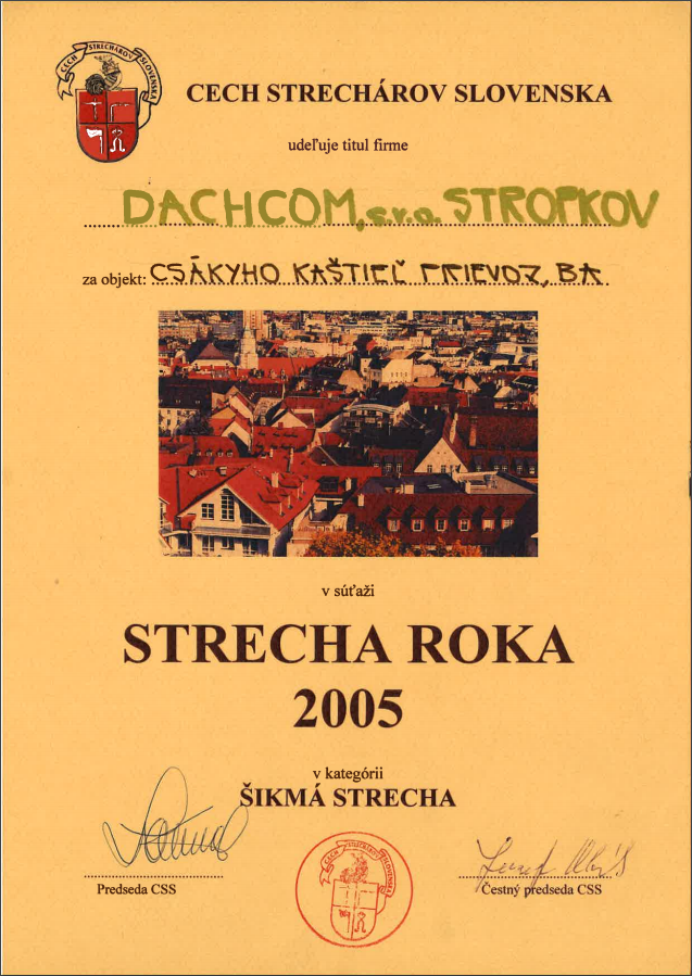 1. a 3. miesto Cechu strechárov Slovenska