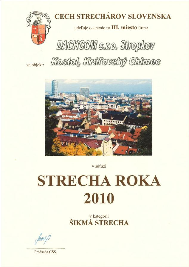 3. miesto Cechu strechárov Slovenska